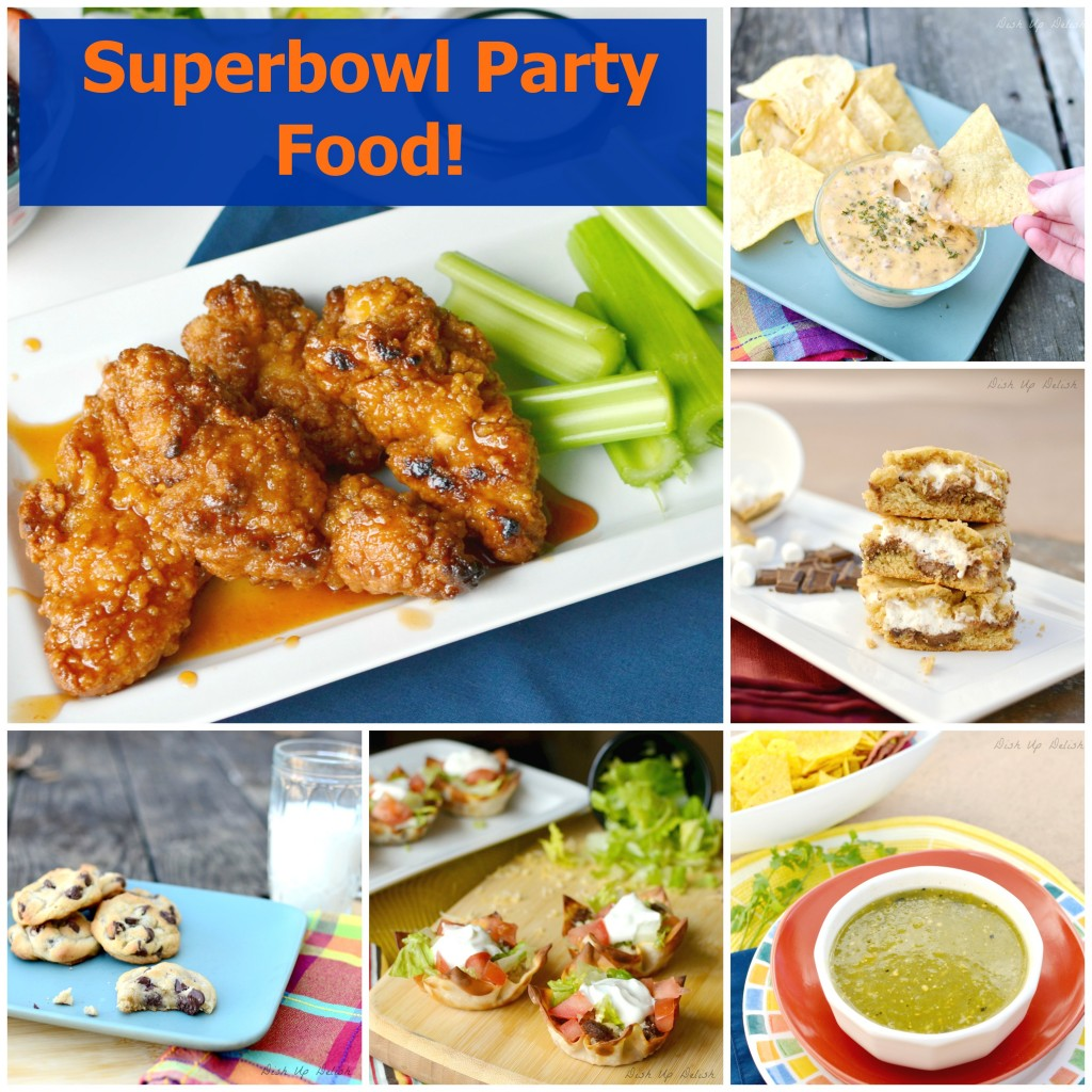 Superbowl party food on Dish Up Delish